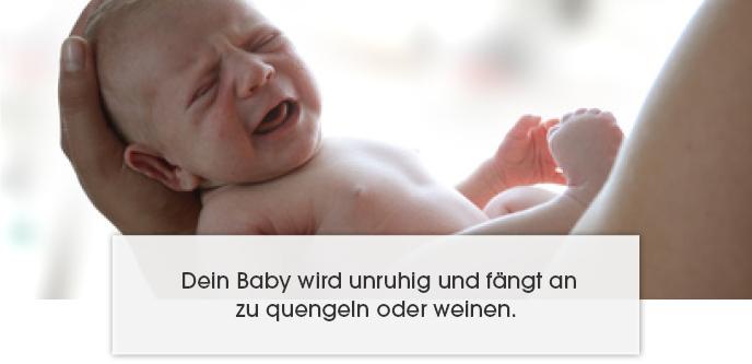 Dein Baby wird unruhig und fängt an zu quengeln oder weinen.
