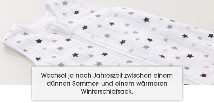 Wechsel ja nach Jahreszeit zwischen einem dünnen Sommer- und einem wärmeren Winterschlafsack.