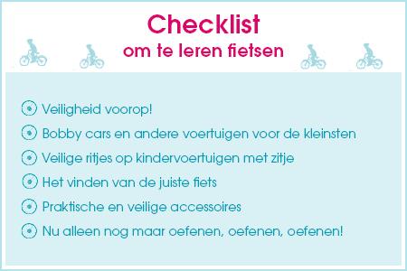 Checklist om te leren fietsen