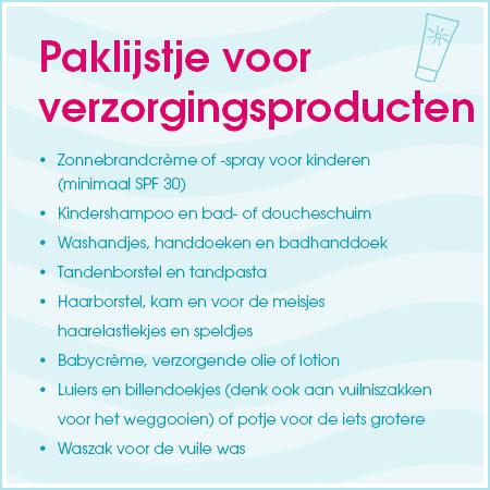 Paklijst voor verzorginsproducten