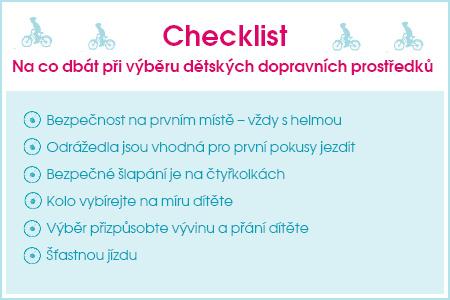 Checklist Na co dbát při výběru dětských dopravních prostředků