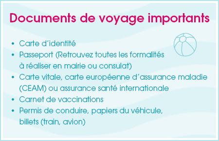 Checklist  documents de voyage importants