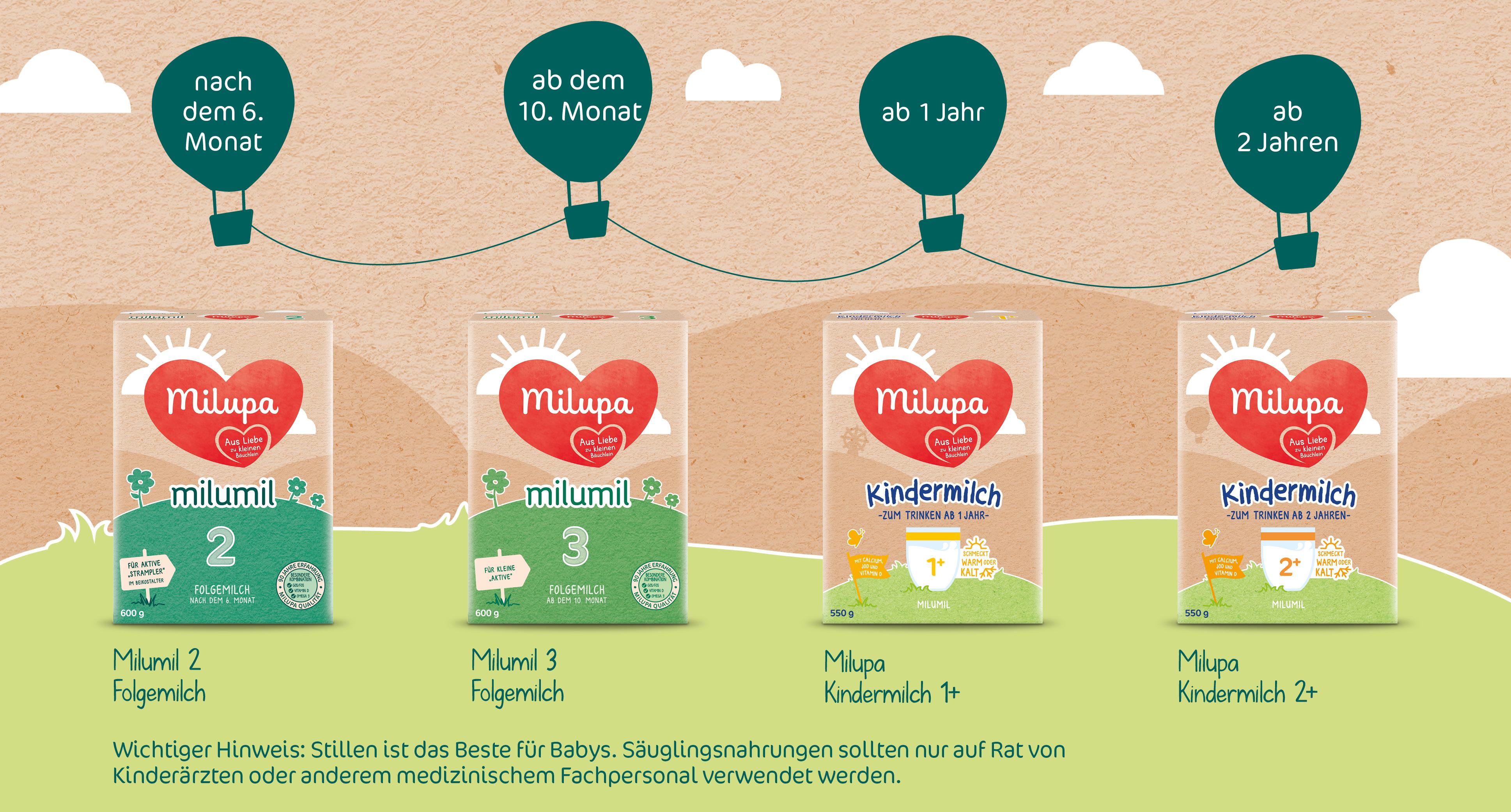 Milupa Folgemilch Milumil 3 5 x 600 g ab dem 10. Monat - babymarkt.de
