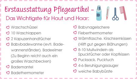Checkliste Erstausstattung Babypflege