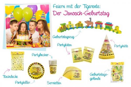 Viele verschiedene Partyprodukte und Dekorationen für den Janosch-Geburtstag