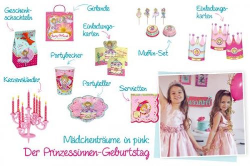 Der Prinzessinnen-Party mit pinken Accessoires