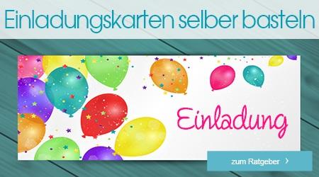 Eine Einladungskarte mit vielen bunten Ballons als Verzierung