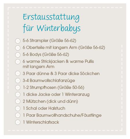 Checkliste Baby-Erstausstattung Winterbaby