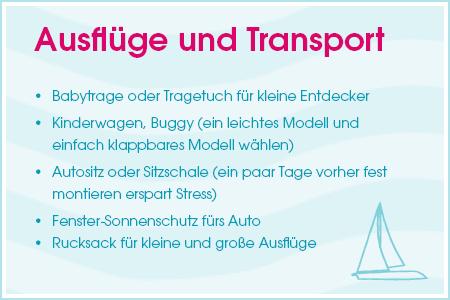 Urlaubs-Checkliste: Ausflüge und Transport
