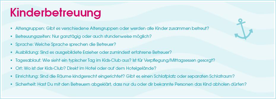 Urlaubs-Checkliste: Kinderbetreuung