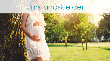 Schwangere in weißem Umstandskleid