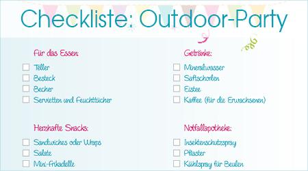 Checkliste für Geburtstagparty