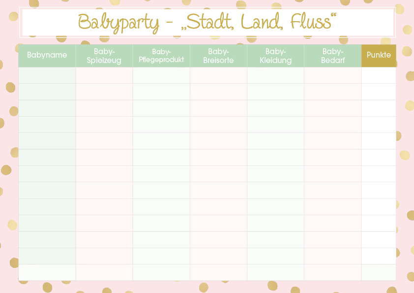 Babyparty Spiele Stadt-Land-Fluss