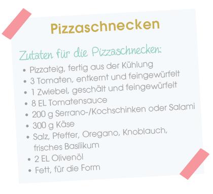 Babyparty Rezept - Zutaten Pizzaschnecken