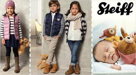 Drei verschiedene Bilder von Kindern in modernen Steiff Kleidungsstücken