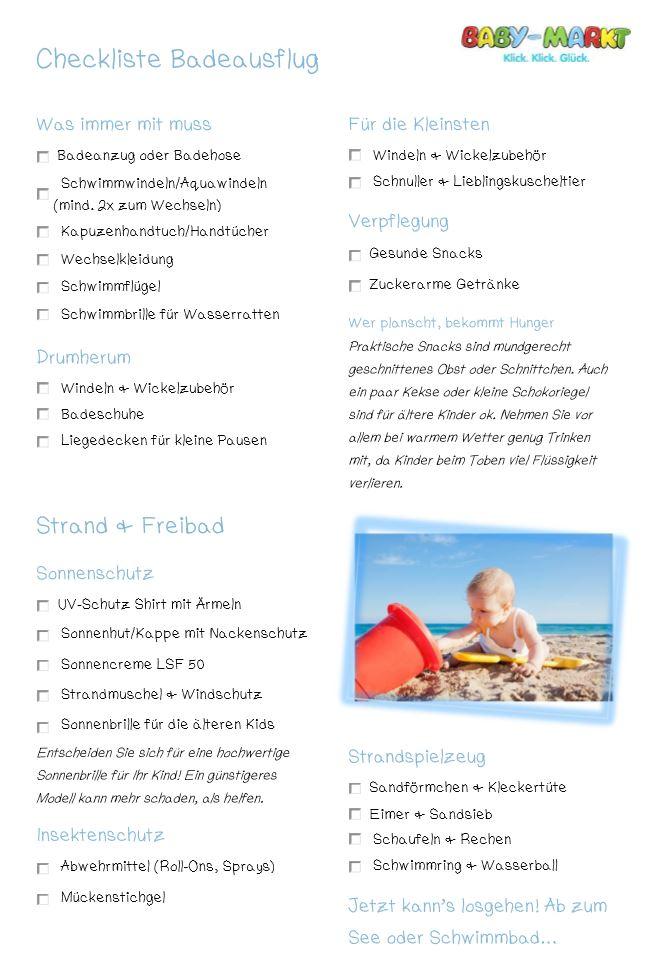 Checkliste Badeausflug