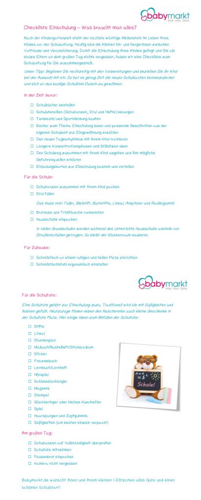 Checkliste zur Einschulung - Was braucht man alles?