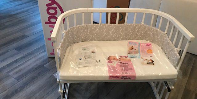 babybay Beistellbett maxi weiß & Matratze & babybay Nestchen