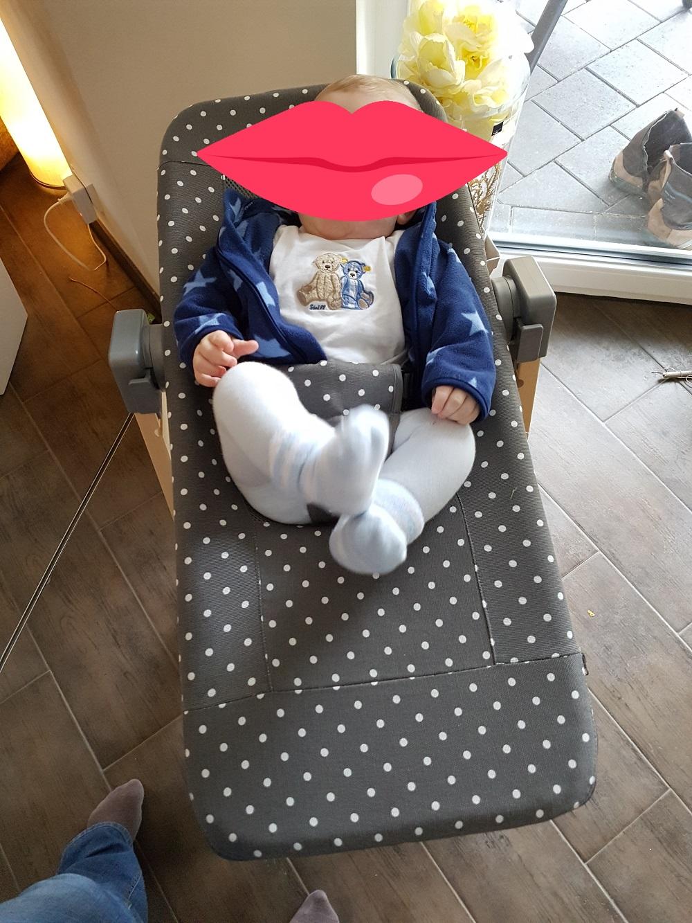 Geuther Hochstuhl Syt natur mit Babyliege Sit'n Sleep grau gepunktet